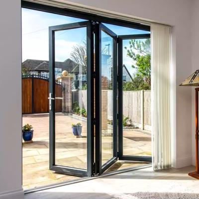 двери гармошка из алюминиевого профиля и стекла